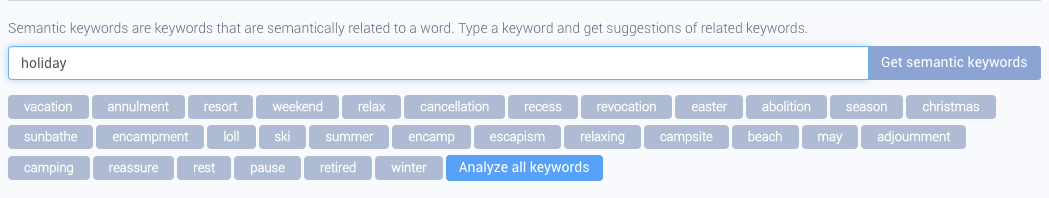 """AppTweak Keyword Research and Suggestion Tool - Related Keywords for """"holiday"""""""