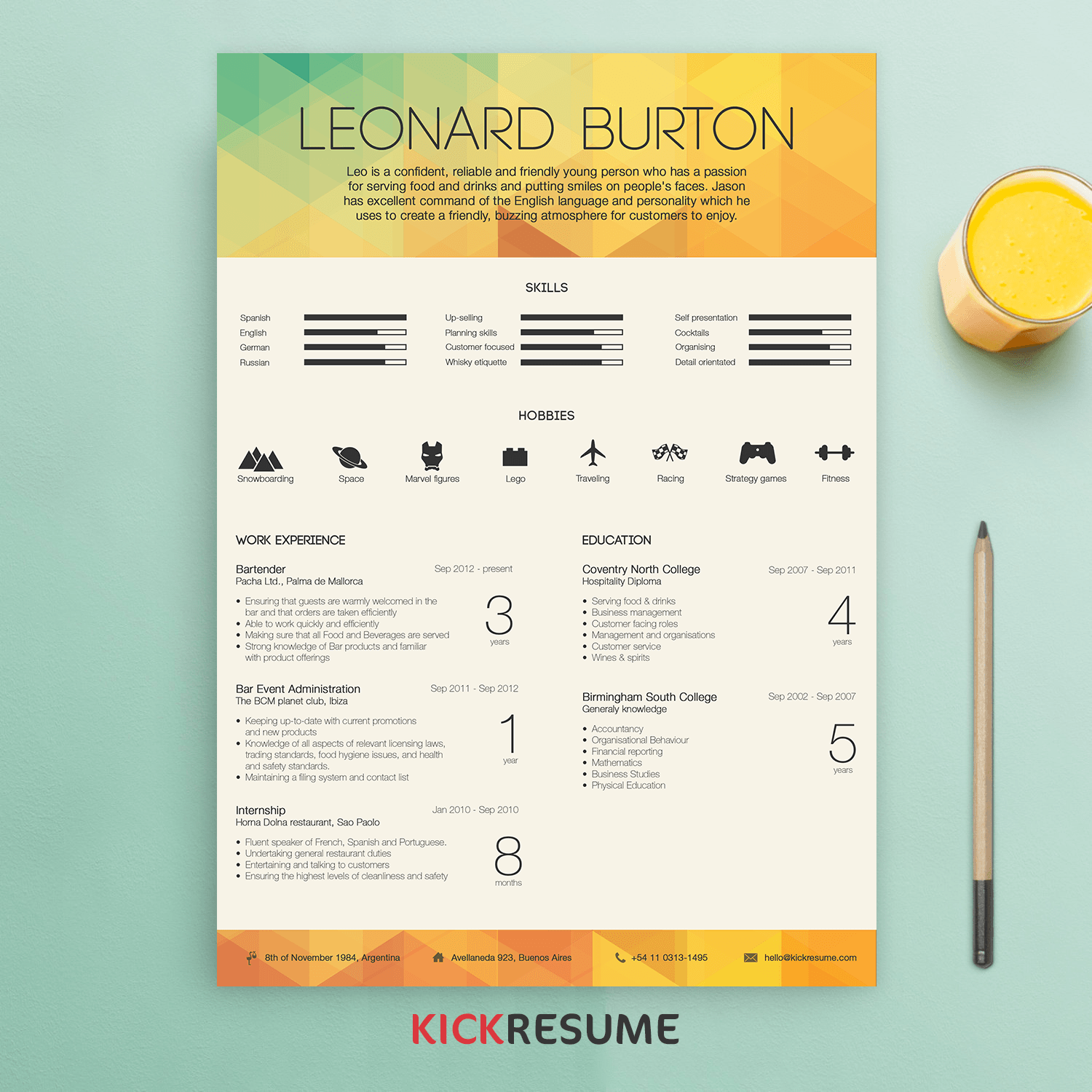 Custom Resume By Kickresume (get Same Here)  Resume Design Inspiration