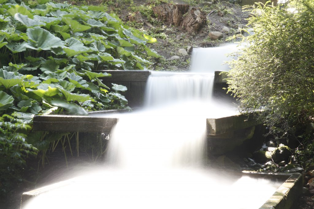 Wasserfall fotografiert mit ND400, Blende 22, Belichtungszeit 45 s