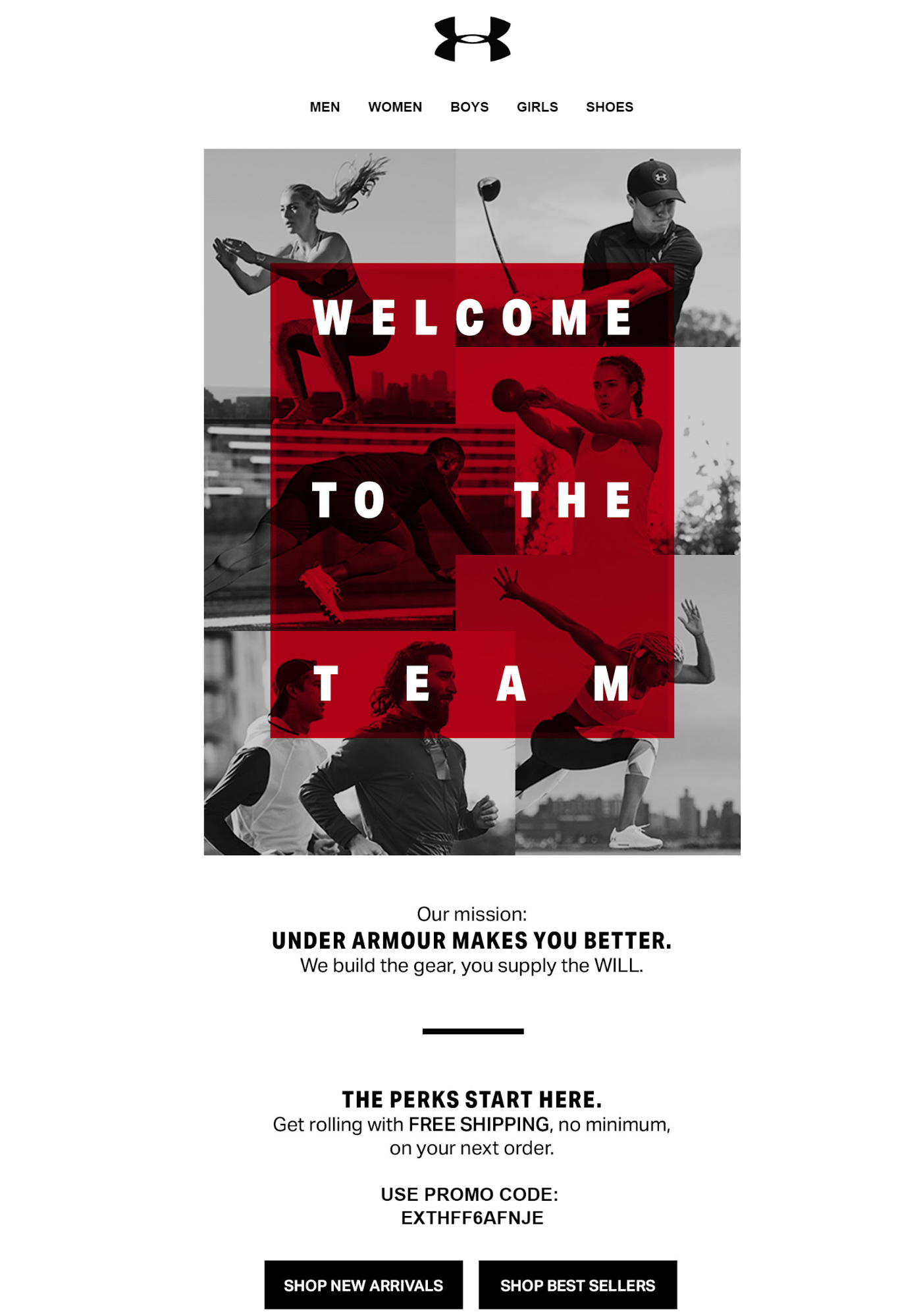 Under Armour welcome email marketing