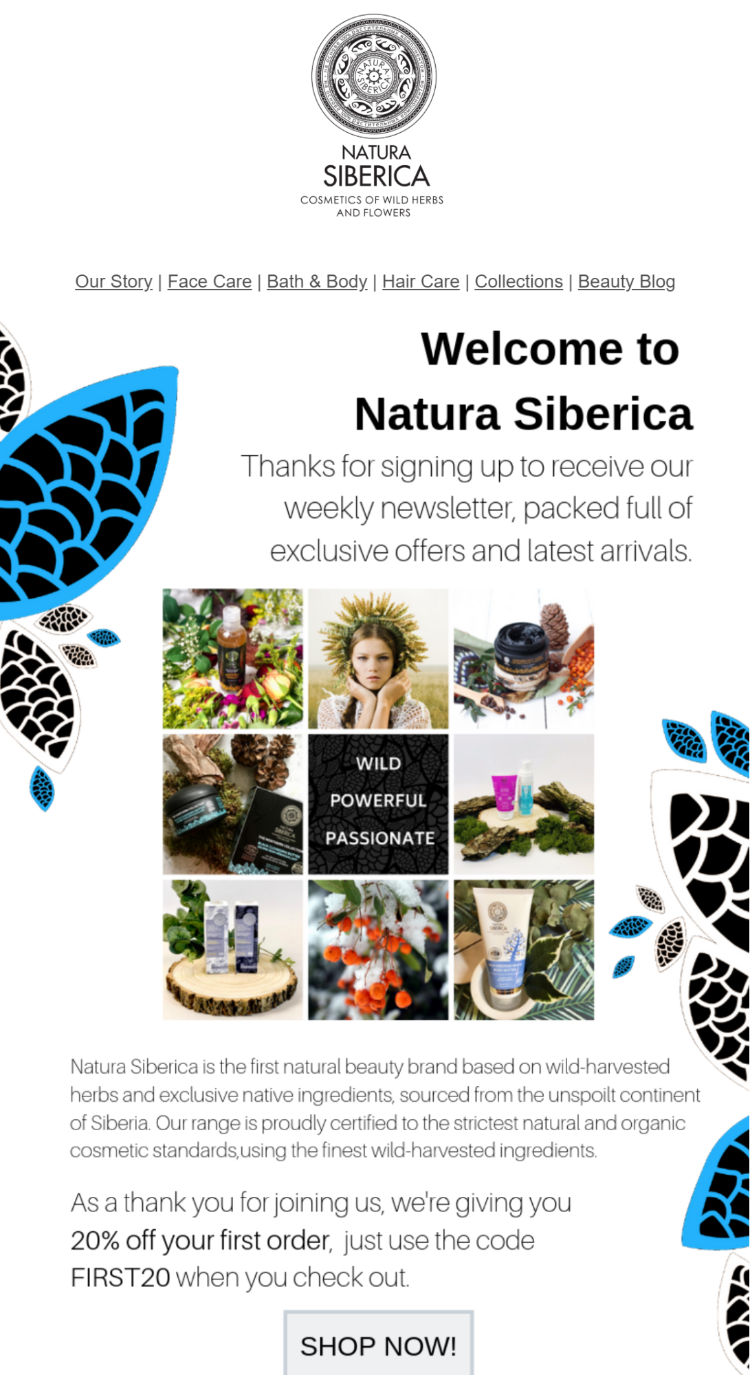 Natura Siberica welcome email marketing