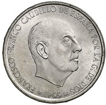 Diferentes estrellas en las 100 pesetas de Franco