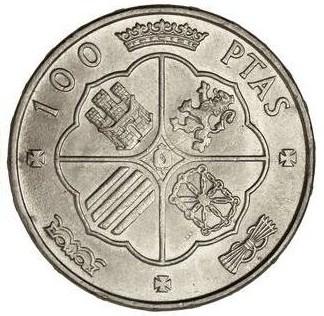 100 pesetas de Franco variante leyenda en canto