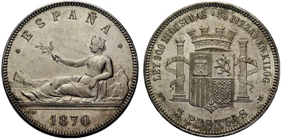 5 pesetas 1870 (18-70)
