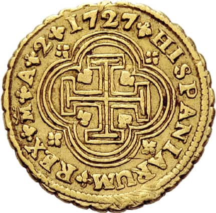2 escudos 1727 Madrid
