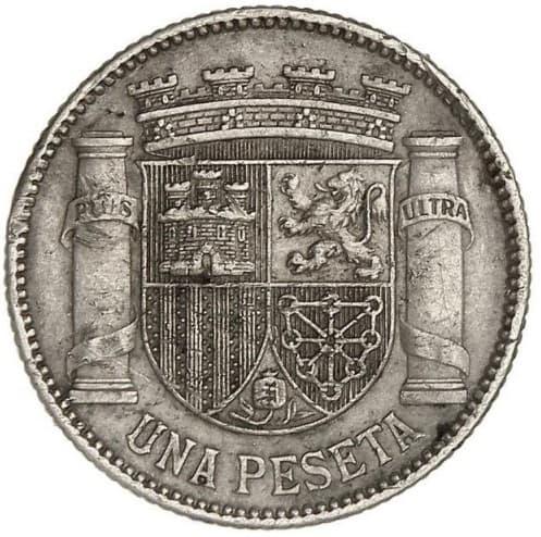 1 peseta de 1933 con reverso girado