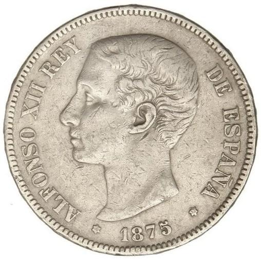 5 pesetas 1875 variante cola del león