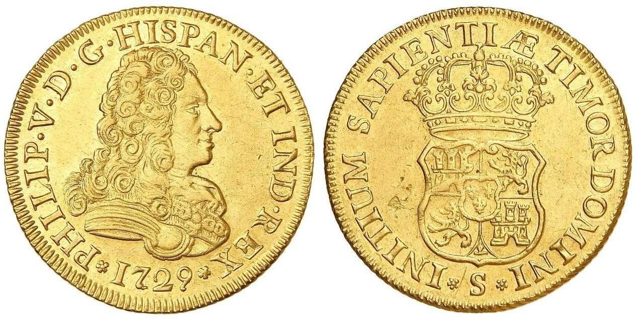 4 escudos Sevilla 1729
