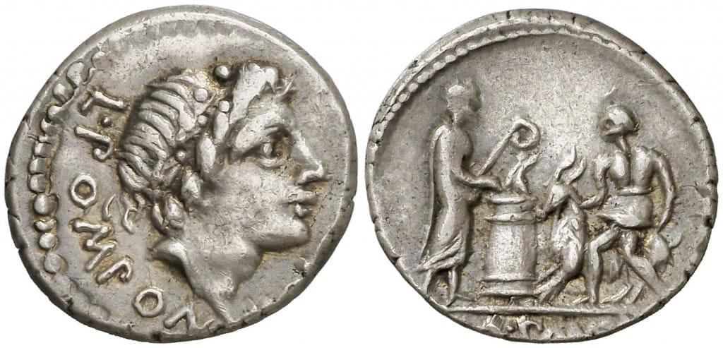 denario de Lucius Pomponius Molo