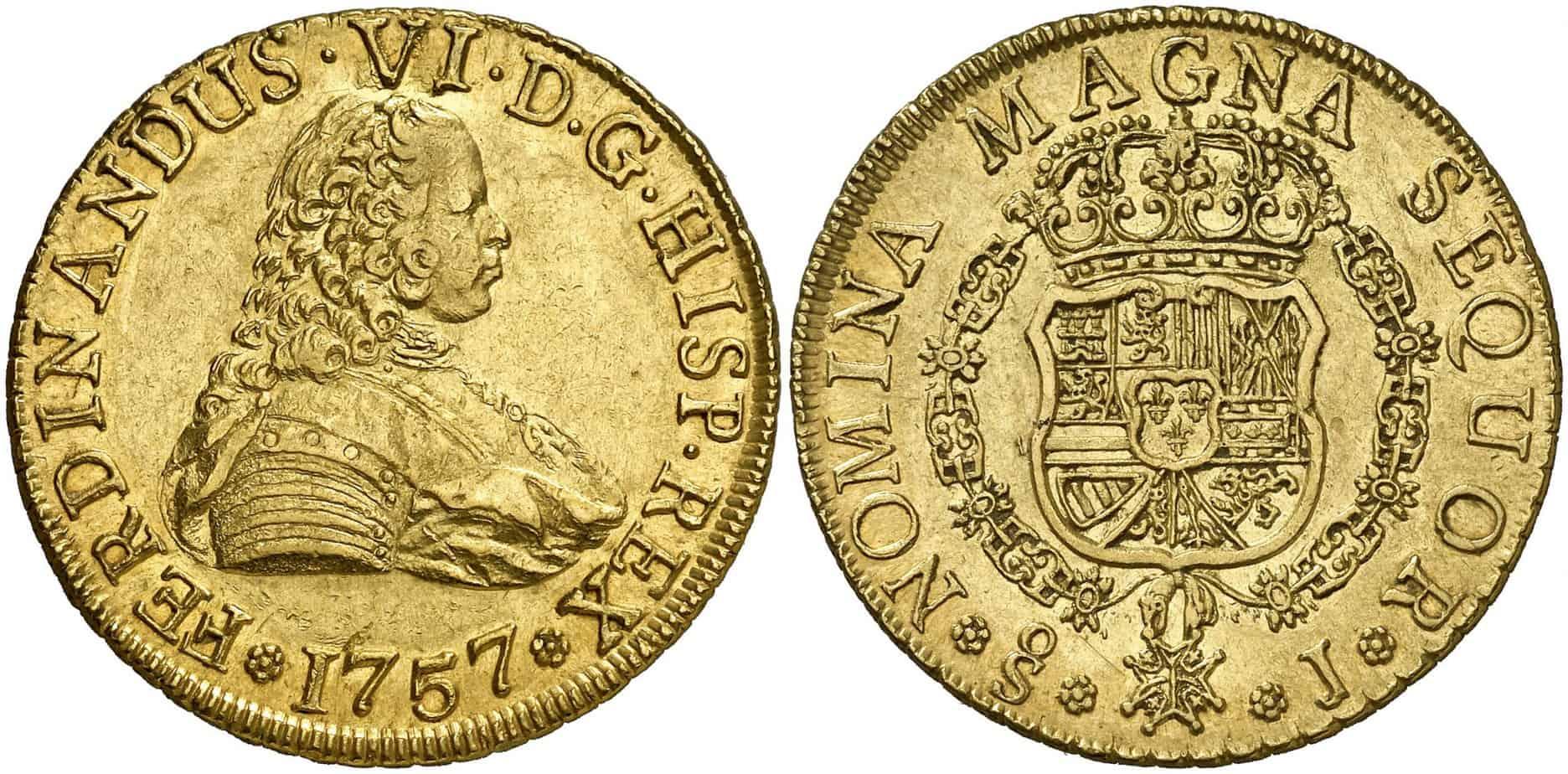 8 escudos Santiago 1757