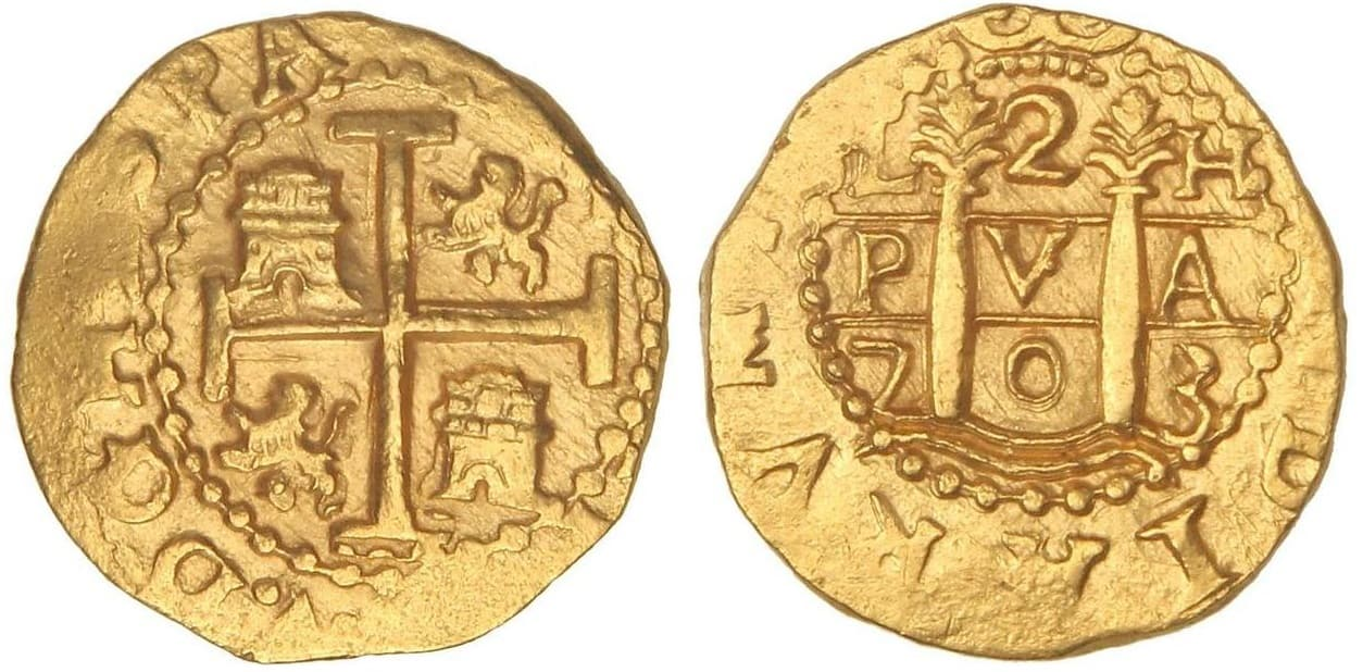 2 escudos Lima 1703