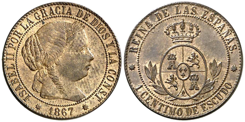 1 céntimo de escudo Barcelona 1867