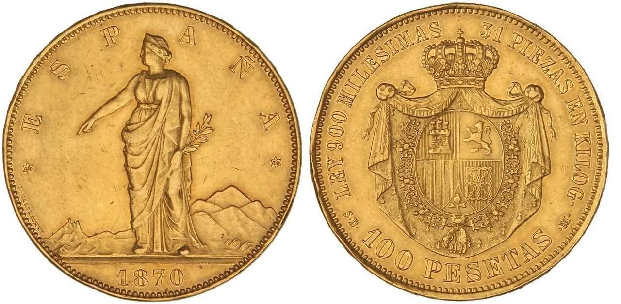 100 pesetas 1870