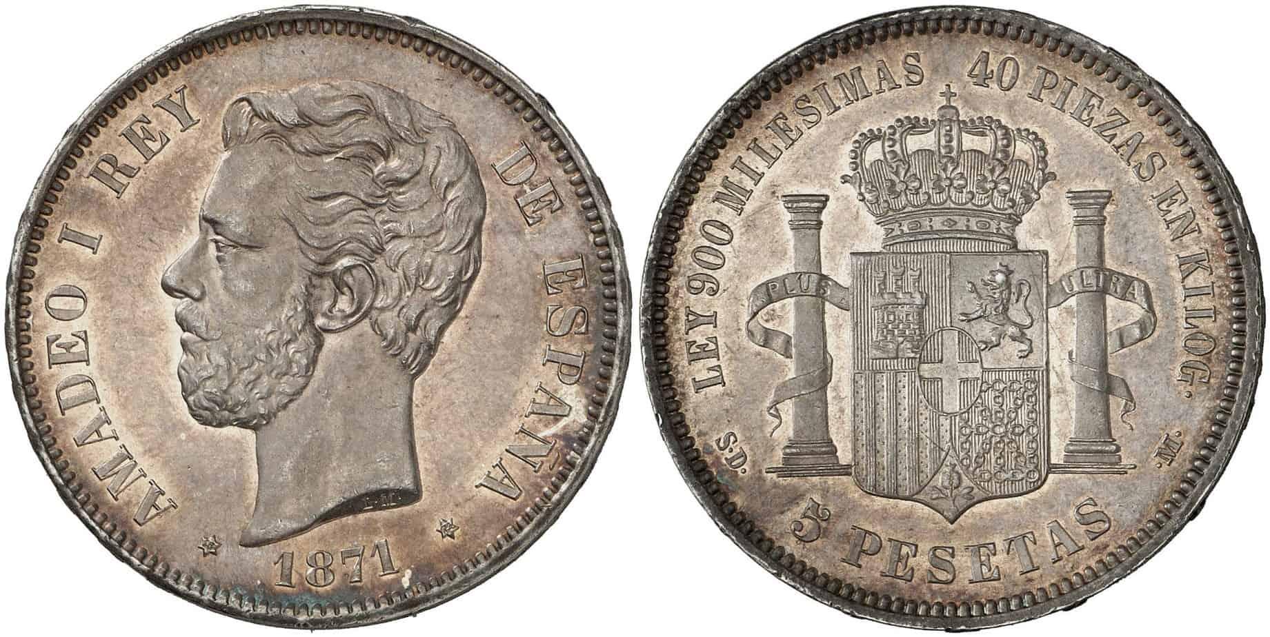 5 pesetas 1871 SC