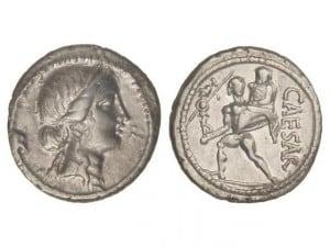 Denario. 47-46 a.C. JULIO CÉSAR. GALIA