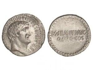Denario. 33 a.C. ANTONIA-97. Marco Antonio y Junius Silanus. Ceca itinerante.