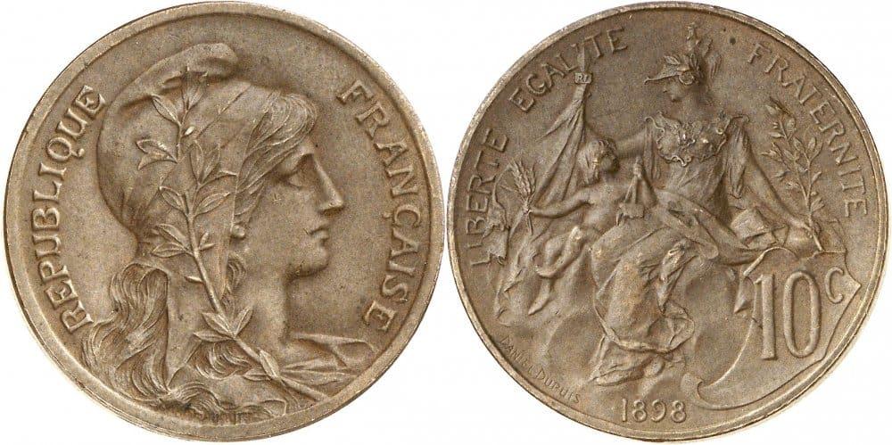 figura 5. Moneda francesa, siglo XIX. retrato femenino con gorro frigio