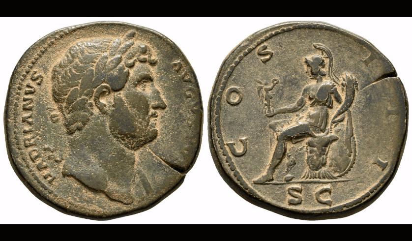 Adriano. Sestercio. 127 d.C. Roma. (Spink-3585). (Ric-636). Rev.: COS III S C. Roma sentada a izquierda sobre armadura, sosteniendo Victoria y cuerno de la abundancia, detrás un escudo. Ae. 29,67 g. MBC+