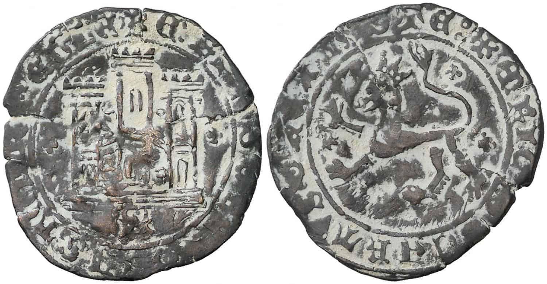 Enrique IV (1454-1474). Toro. Maravedí. (AB. 808 var.). 1,91 g. Leyendas poco visibles. Rarísima. MBC-.
