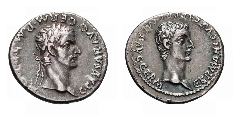 Denario de Calígula y Germánico