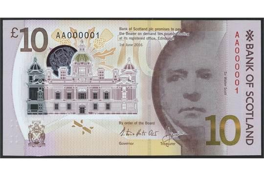 10 Libras dedicado a Walter Scott