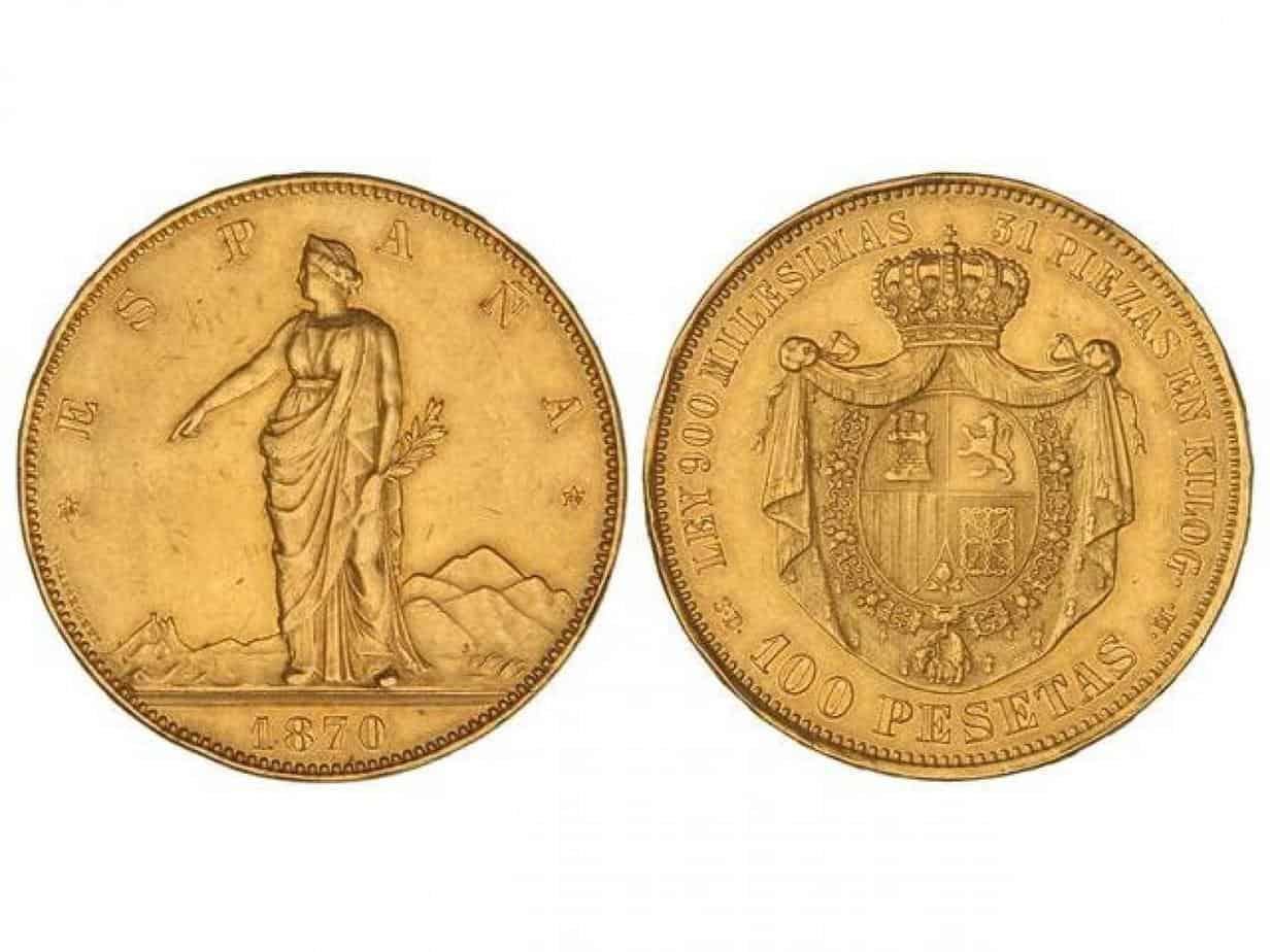 100-Pesetas.-1870