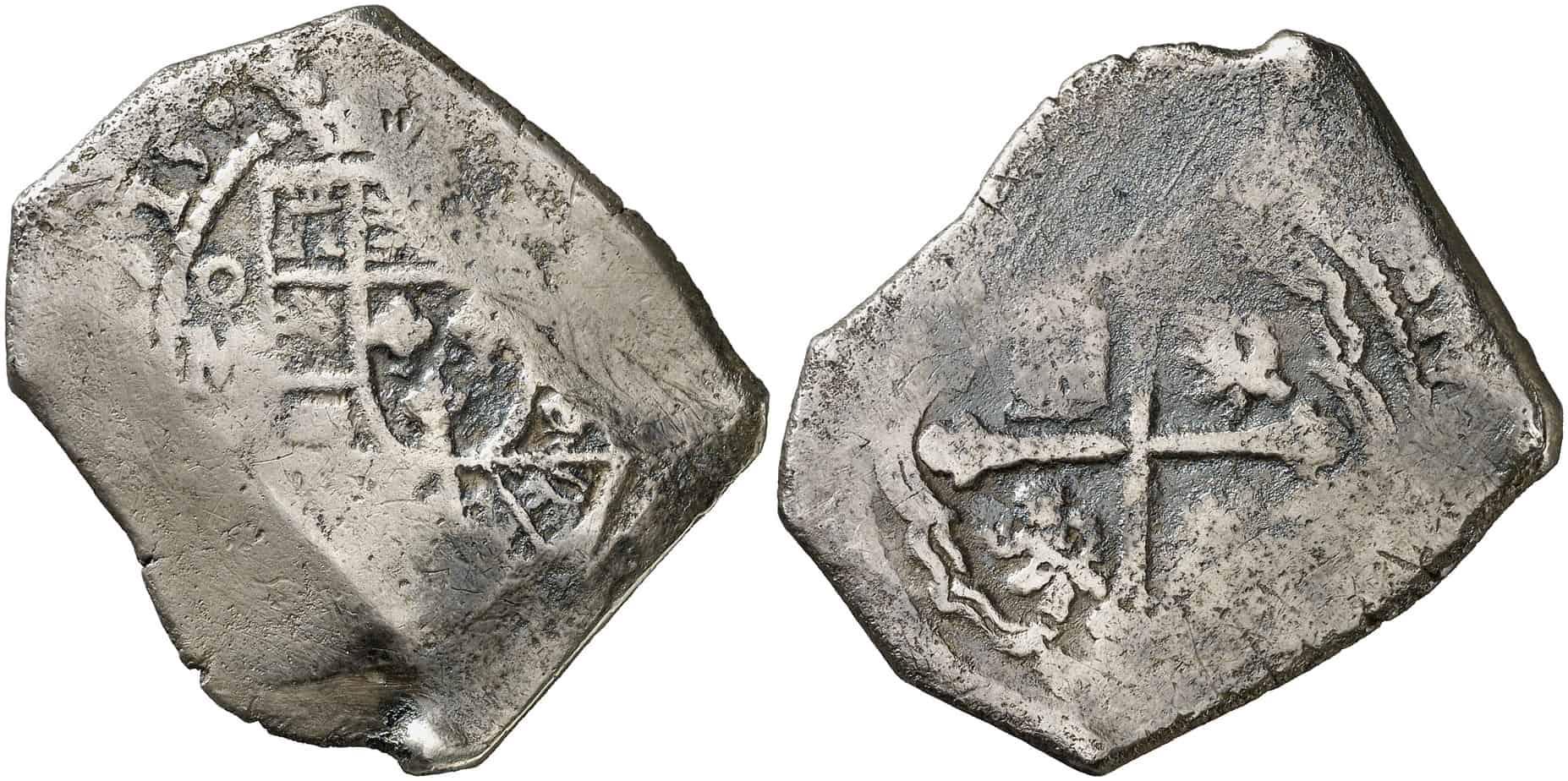 8 reales de México de 1715. Subastado por Áureo & Calicó en mayo de 2014.