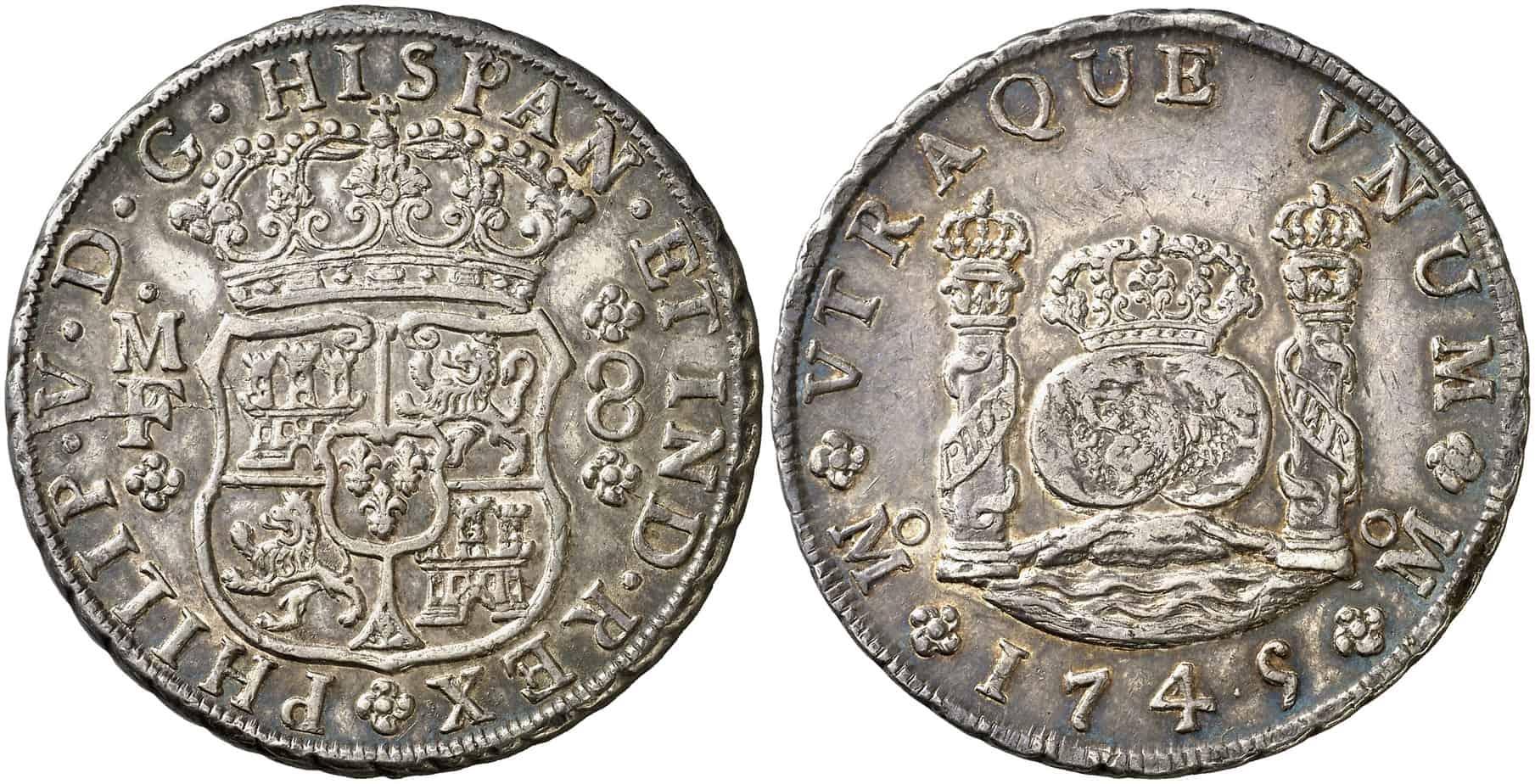 8 reales de México de 1745. Subastado por Áureo & Calicó en marzo de 2016.