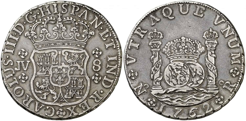 1762. Carlos III. Santa Fe de Nuevo Reino. JV. 8 reales.