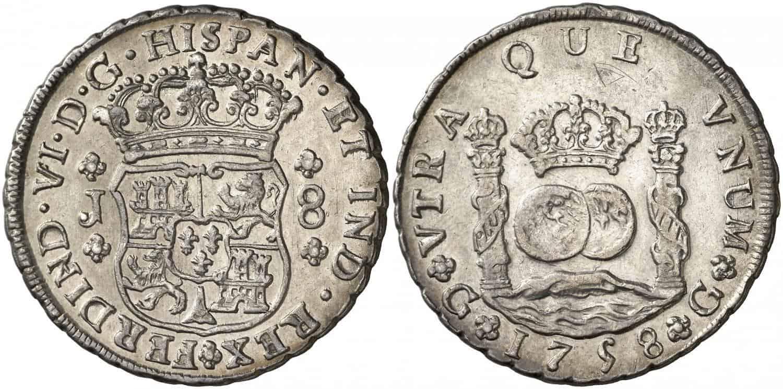 8 reales. Fernando VI. 1758. Guatemala.