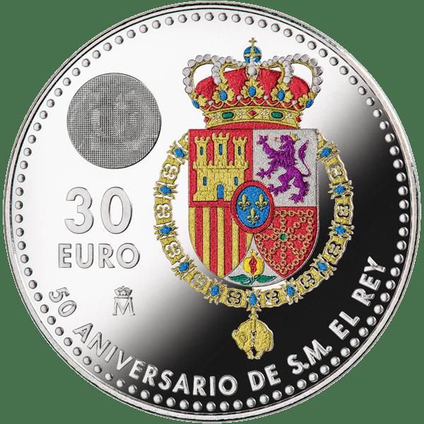30 euros 50 aniversario rey reverso