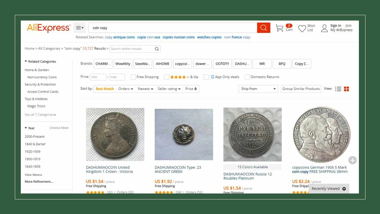 Monedas falsas en AliExpress