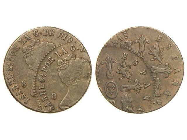 8 maravedís de Isabel II con doble acuñación