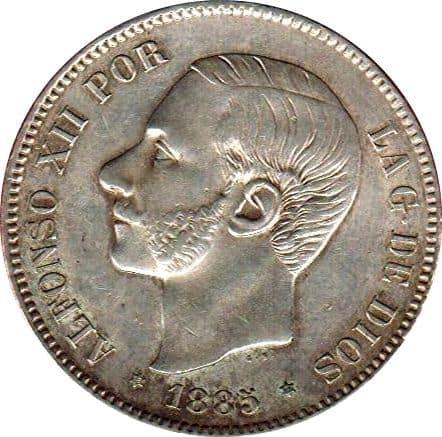 5 pesetas 1885