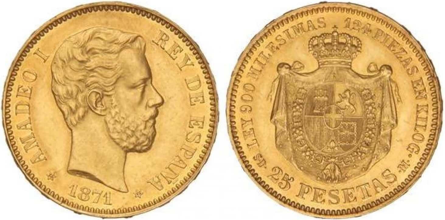 25 pesetas de 1871, Amadeo I