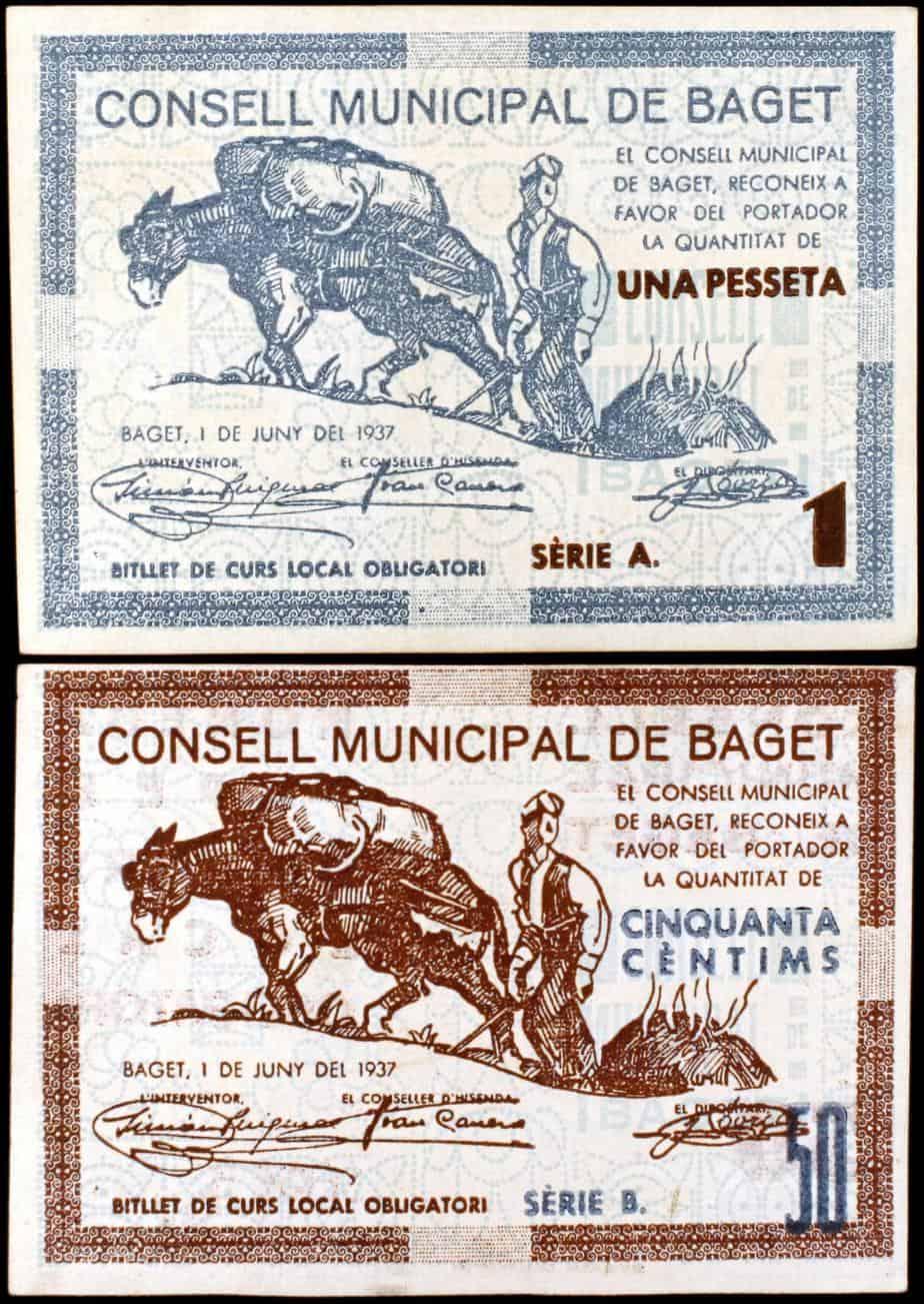 Beget. 50 céntimos y 1 peseta (T. 395b y 396b)
