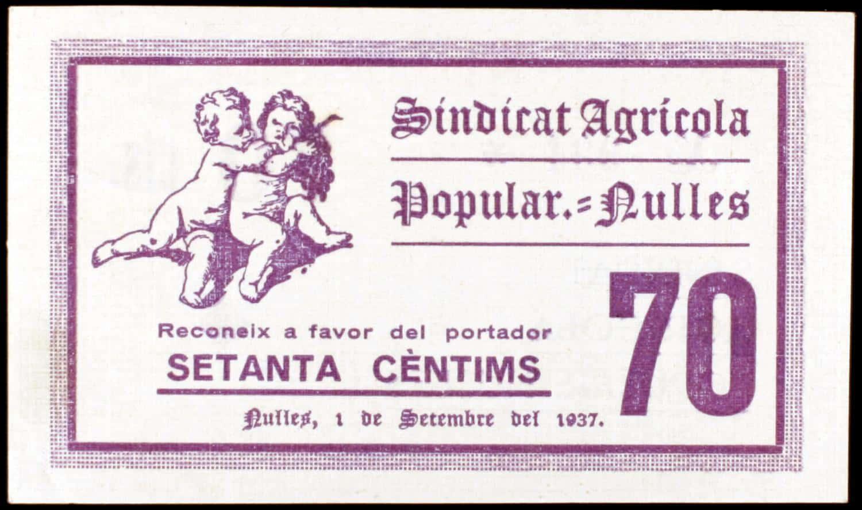 Nulles. Sindicat Agrícola Popular. 15, 20 y 70 céntimos.