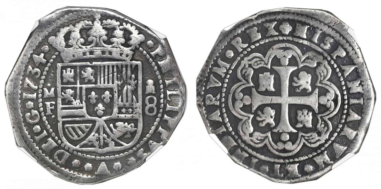 """8 reales México 1734, tipo """"clíper"""""""