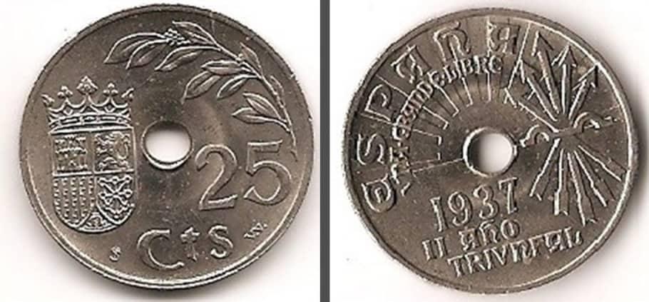 25 céntimos de 1937 en cospel nazi