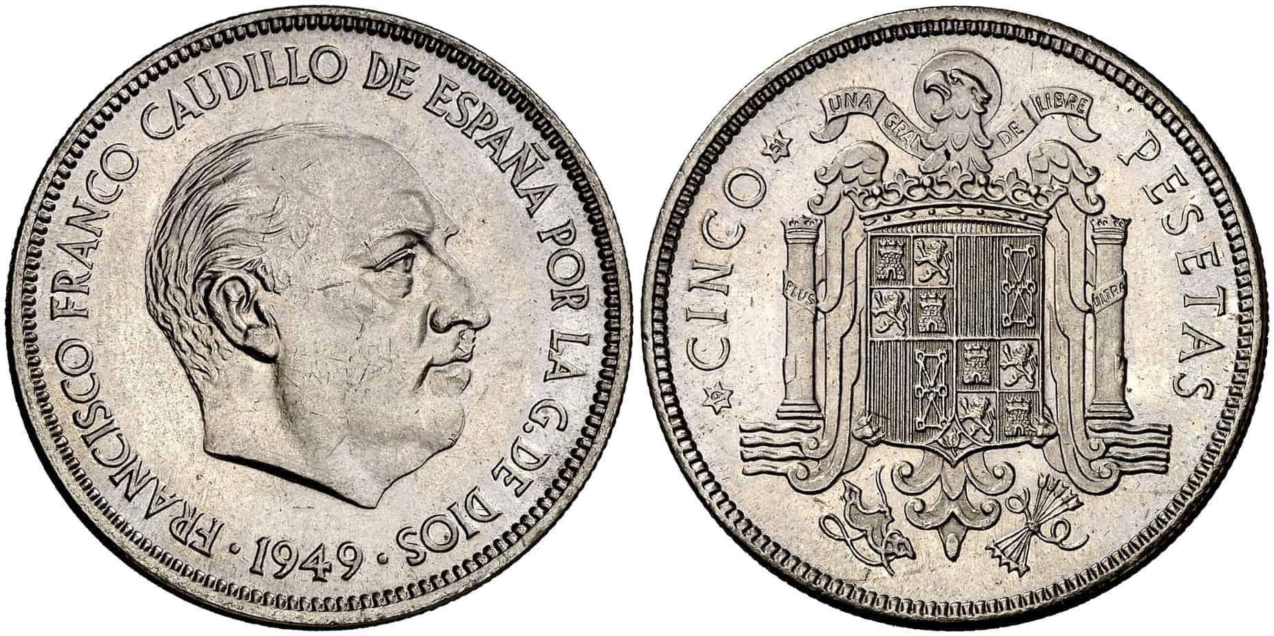 5 pesetas de 1949: cuánto cuestan y cuál es su historia
