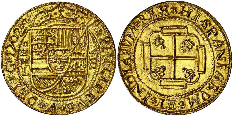 8 escudos 1702, Mexico, tipo galano