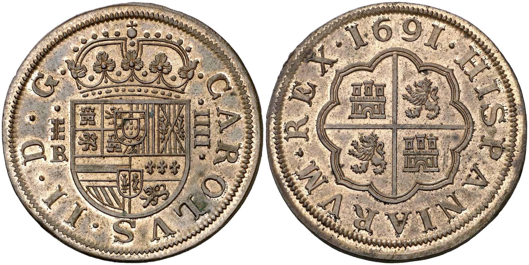 Prueba de la Escuela de Grabadores: 4 reales 1691