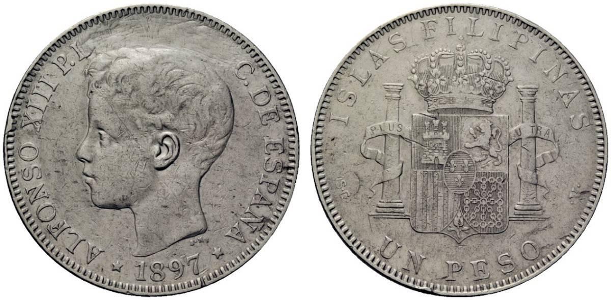 1 peso 1897 Islas Filipinas, manipulado para circular en la Península