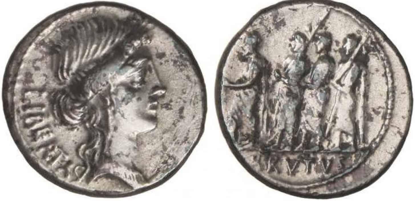 Denario forrado, Caepio Brutus (gens Junia)