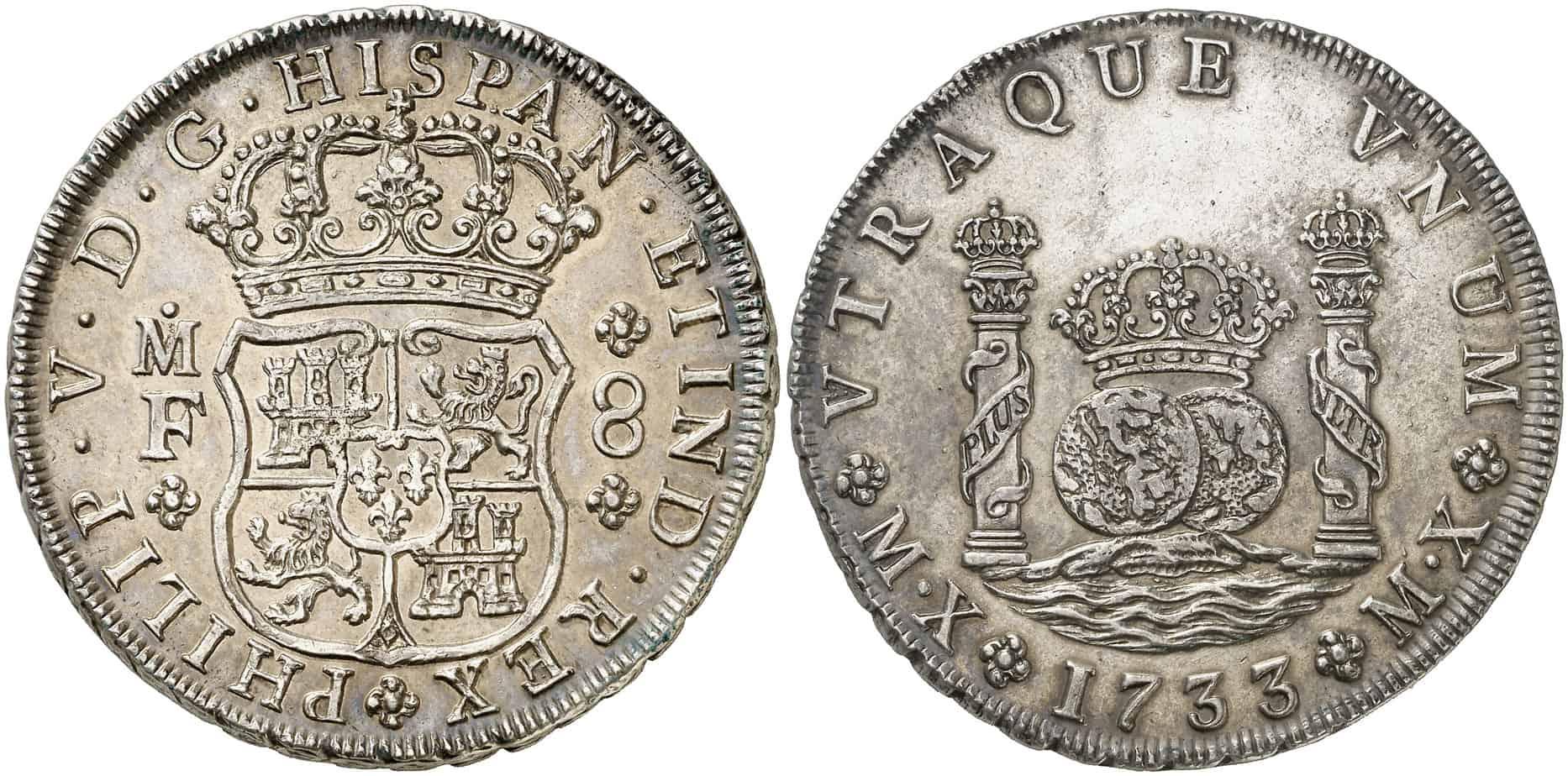 8 reales columnario 1733, México MX, MF