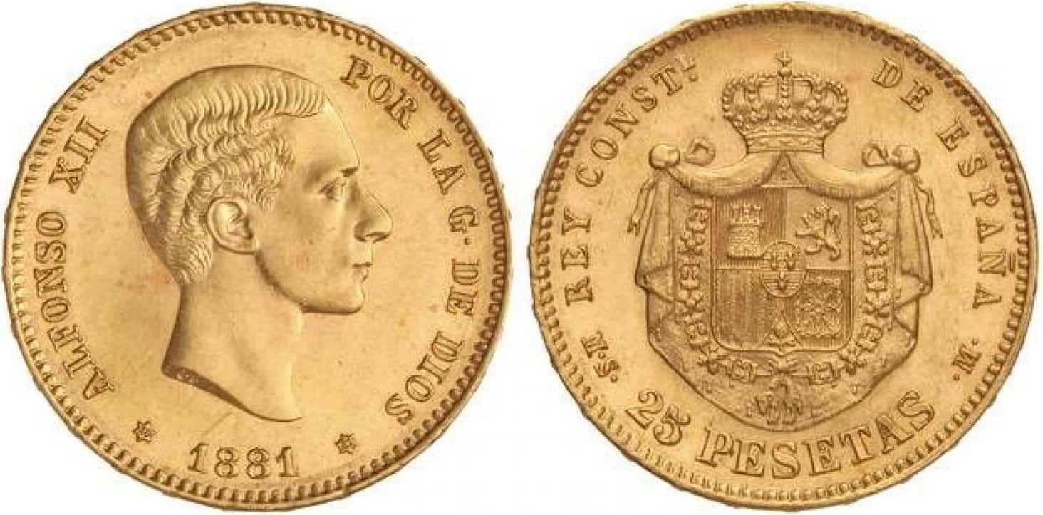 25 Pesetas 1881 (18-81) sin barba