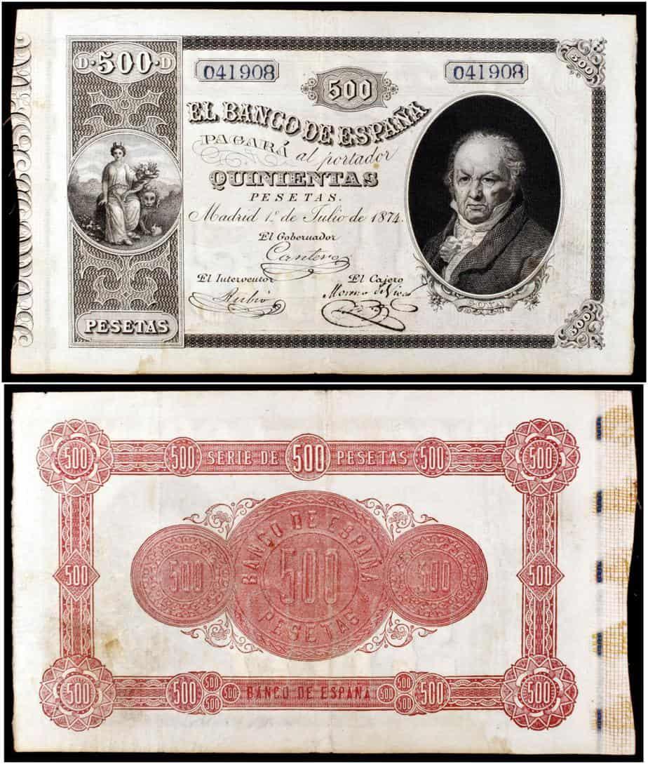 500 pesetas 1874, Goya