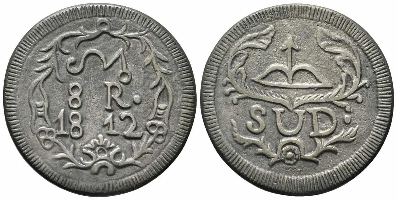 8 reales Morelos plata fundida