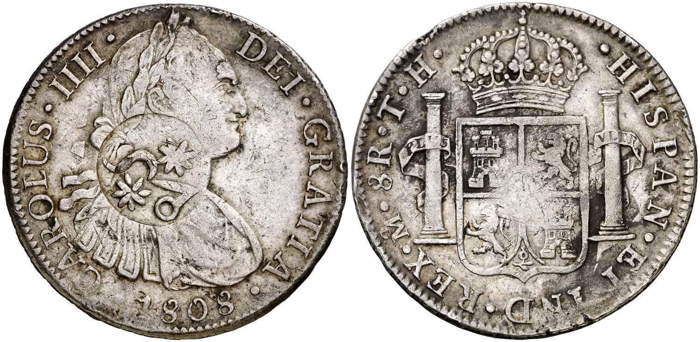 8 reales Carlos IV Resello Morelos