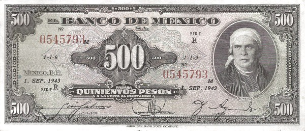 500 pesos Mexico 1943
